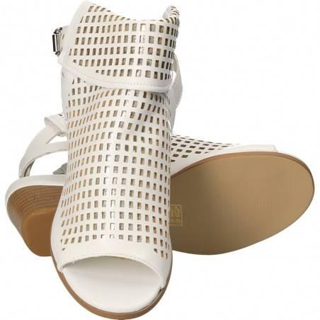 Sandale fashion, albe, inalte, pentru femei
