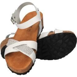 Sandale albe cu strasuri, Bellini, made in Italy