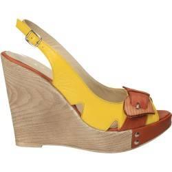 Sandale galben cu maro, din piele naturala, cu platforma