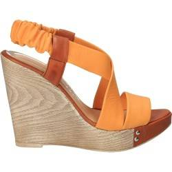 Sandale fashion cu platforma, galben cu maro, piele naturala