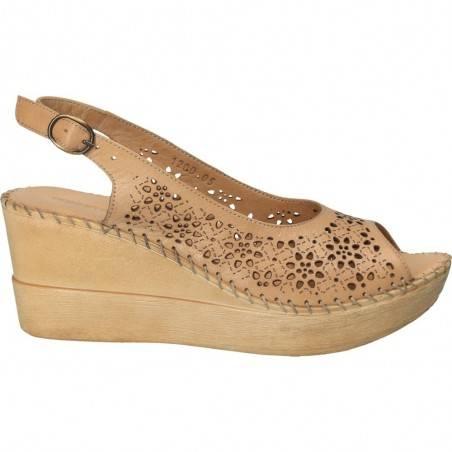 Sandale Dama Donna Style bej cu perforatii florale