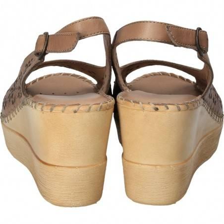 Sandale Dama Donna Style maro cu perforatii florale