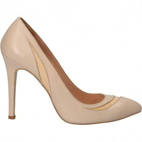 Pantofi clasici stiletto, bej, piele naturala