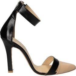 Pantofi fashion bej cu negru, piele naturala