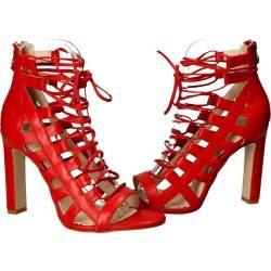 Sandale rosii, fashion, pentru femei, piele naturala
