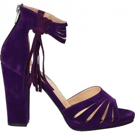 Sandale femei, cu toc inalt, din imitatie velur