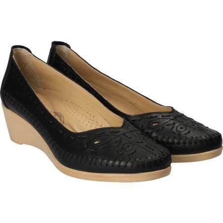 Pantofi cu motive folclorice, din piele, marca Da Vinci