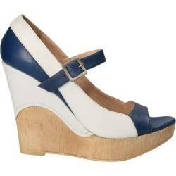 Sandale platforma Fashion, alb cu albastru, piele naturala