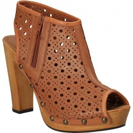 Sandale inalte fashion, maro, piele naturala