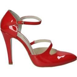 Pantofi de gala rosii, din piele lacuita, pentru femei