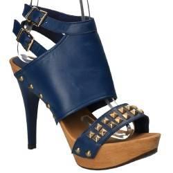 Sandale albastre fashion cu toc inalt, din piele