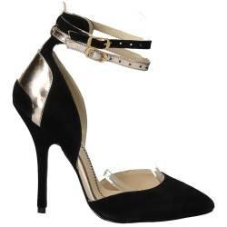 Pantofi lux, negru cu auriu, piele naturala
