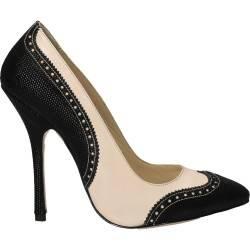 Pantofi Oxford stiletto, bej cu negru, piele naturala
