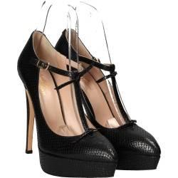 Pantofi cu platforma si toc stiletto din piele naturala