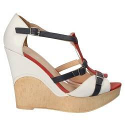 Sandale albe platforma, fashion, din piele naturala