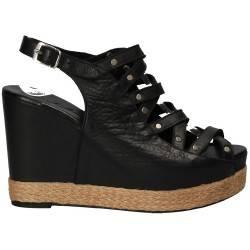Sandale fashion, cu barete, negre, din piele naturala