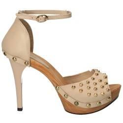 Sandale fashion cu tinte conice, bej, piele naturala