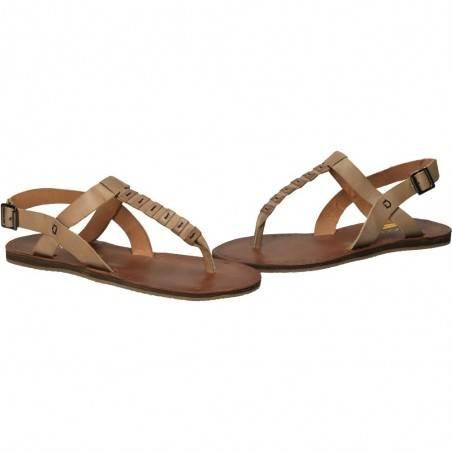Sandale flip-flops, de dama, gri, din piele naturala