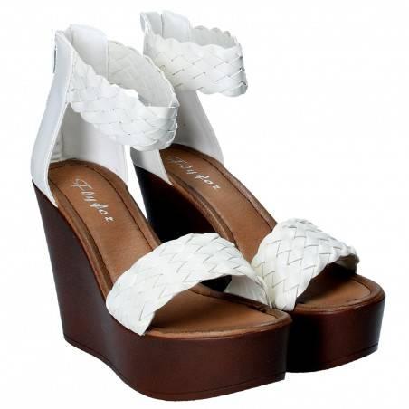 Sandale fashion Femei, albe, cu platforma