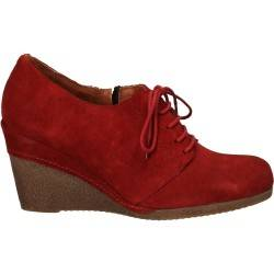 Pantofi fashion din velur rosu, cu platforma