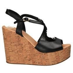 Sandale negre, fashion cu platforma de pluta