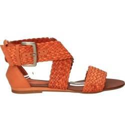 Sandale portocalii fashion, din piele naturala