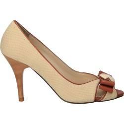Pantofi bej, fashion, cu toc, pentru femei
