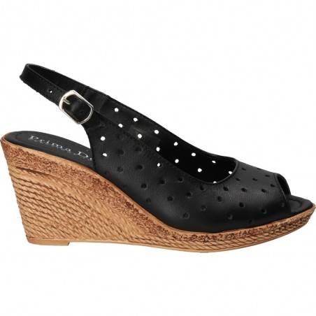 Sandale perforate, platforma, piele naturala