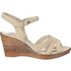 Sandale clasice din velur bej, pentru femei, Prima Donna