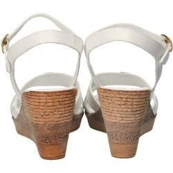 Sandale fashiona, albe, Prima Donna, piele naturala