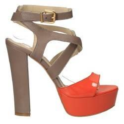 Sandale trendy gri cu portocaliu, pentru femei