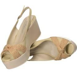 Sandale bej, fashion cu platforma mare