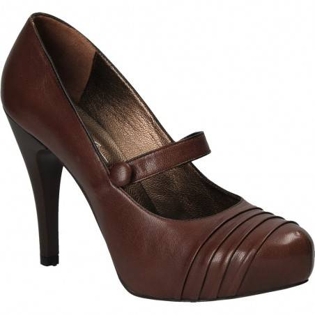 Pantofi cu toc inalt, maro, din piele naturala