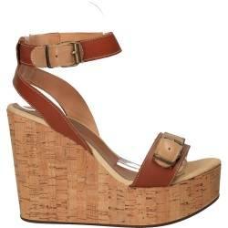 Sandale cu platforma de pluta, din piele naturala