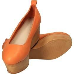 Pantofi portocalii fashion, din piele naturala
