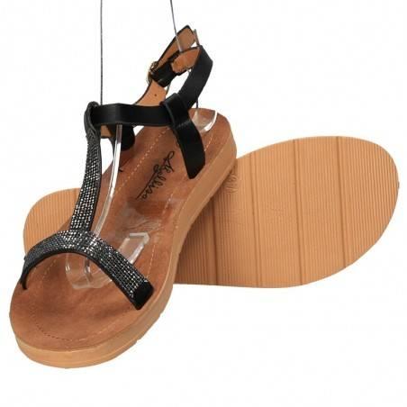 Sandale negre cu strasuri, marca Mellisa