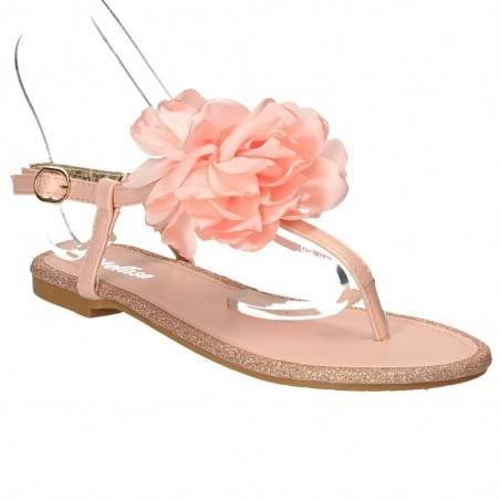 Sandale flip flops roz, cu floare satin, marca Mellisa