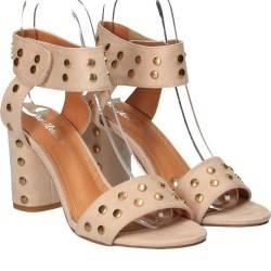 Sandale trendy, de dama, bej, cu ținte aurii