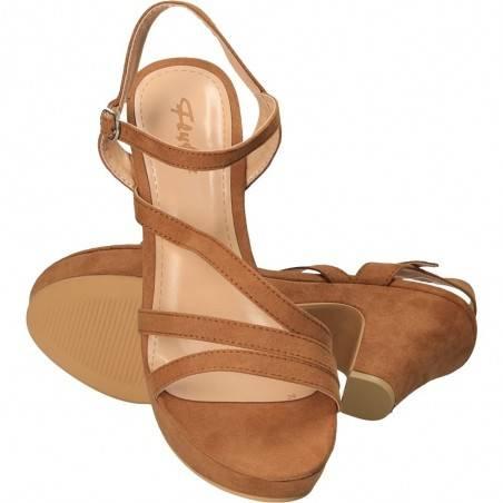Sandale cu platforma si toc, din piele ecologica intoarsa