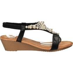 Sandale negre cu perle si pietre, marca Flyfor