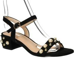 Sandale chic, negre, cu toc mic, marca Chiara Foscari