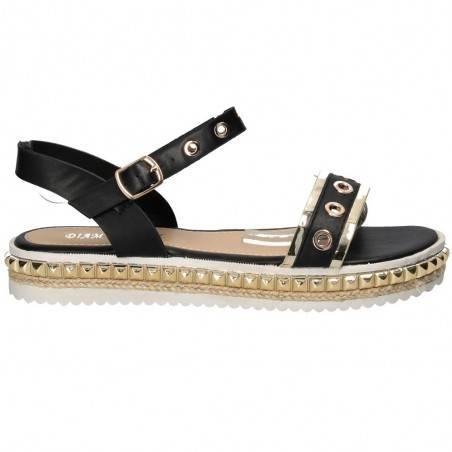Sandale auriu cu negru, femei, marca Diamantique