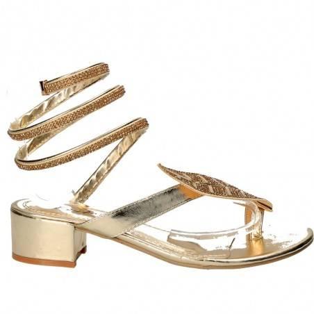 Sandale snake style, aurii, pentru femei
