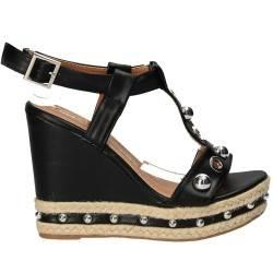 Sandale negre fashion, cu platforma, Sweet Shoes