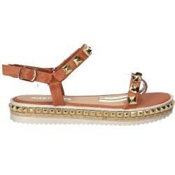 Sandale fashion maro, cu tinte aurii pentru femei