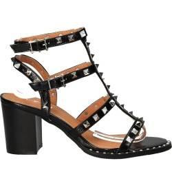 Sandale fashion de dama, negre cu tinte argintii
