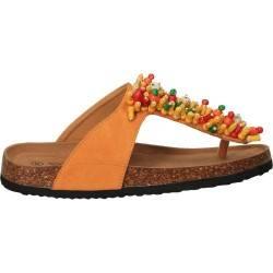 Slapi flip flops, cu margele, portocalii, marca Flyfor
