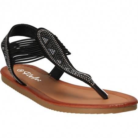 Sandale negre trendy, cu strasuri, Marca Flyfor