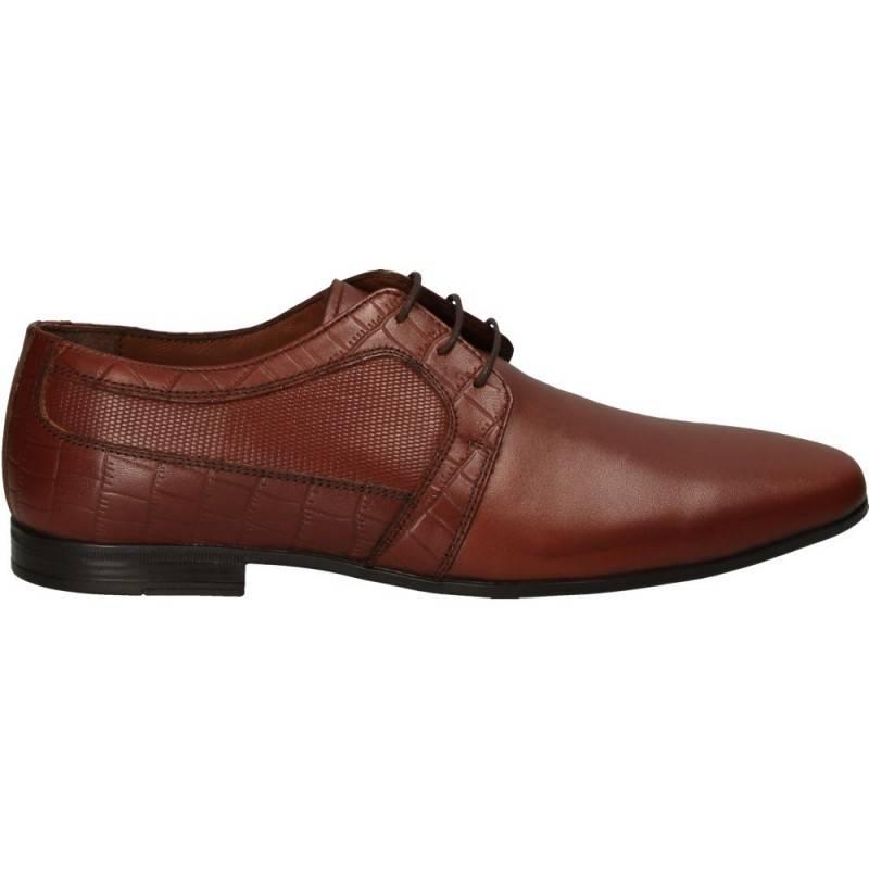 Pantofi barbatesti, imprimeu croco, piele naturala, Da Vinci
