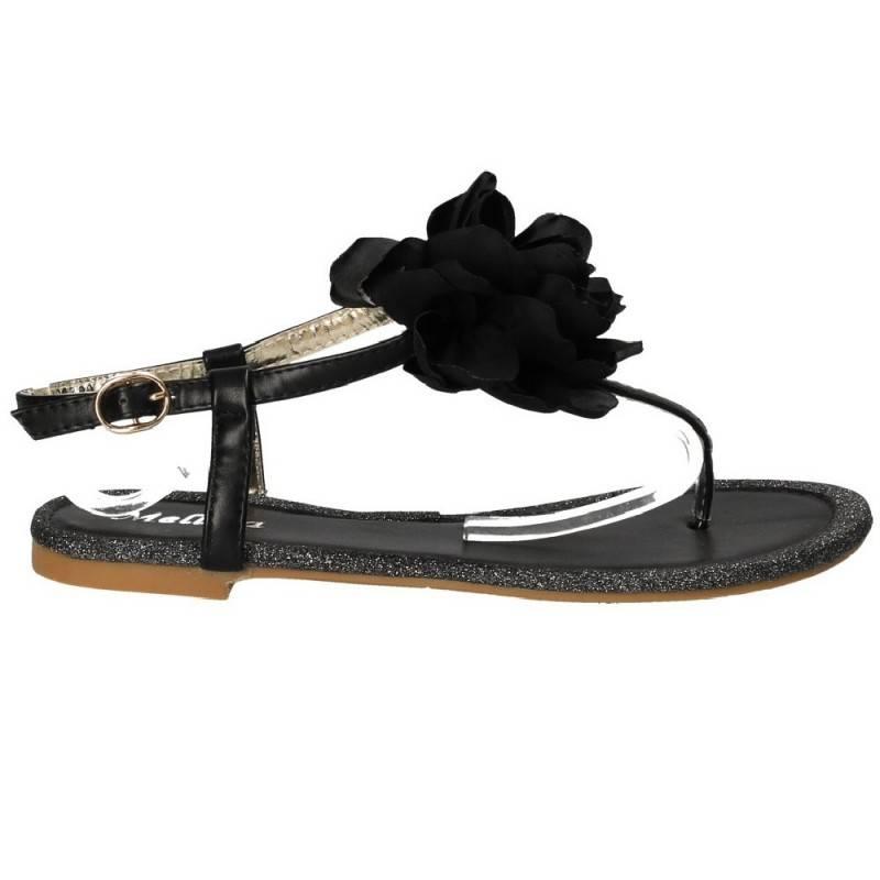 Sandale negre cu floare, trendy, marca Mellisa